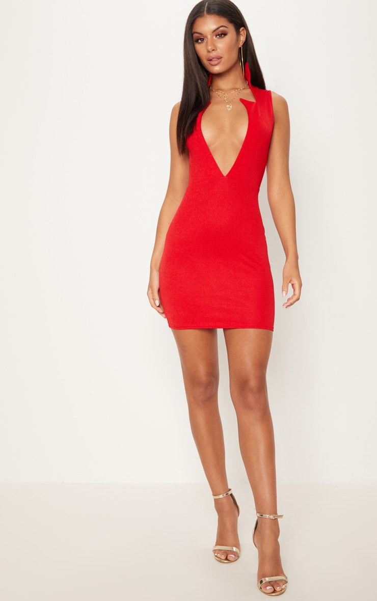 Red Sleeveless Extreme Plunge Collar Detail Bodycon Dress 4