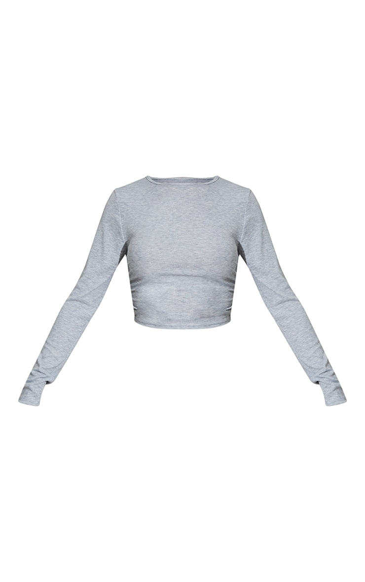 Grey Contrast Rib Ruched Side Long Sleeve Crop Top 5