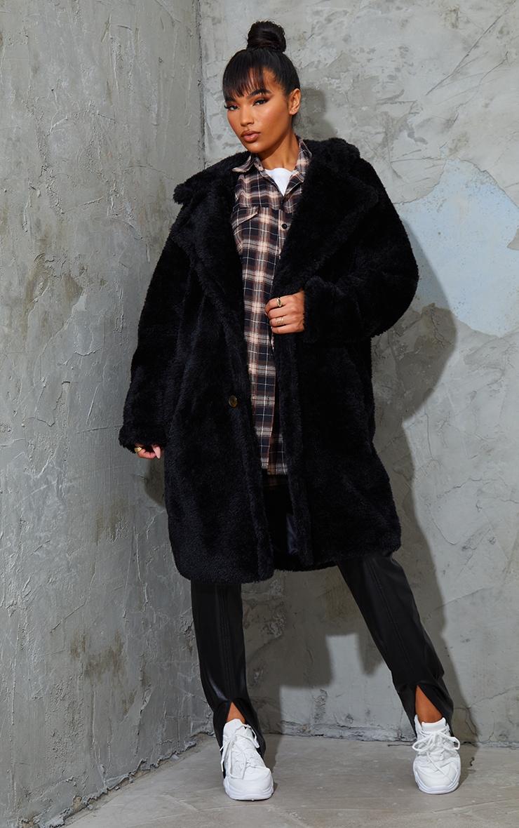 Black Teddy Faux Fur Hooded Coat 1