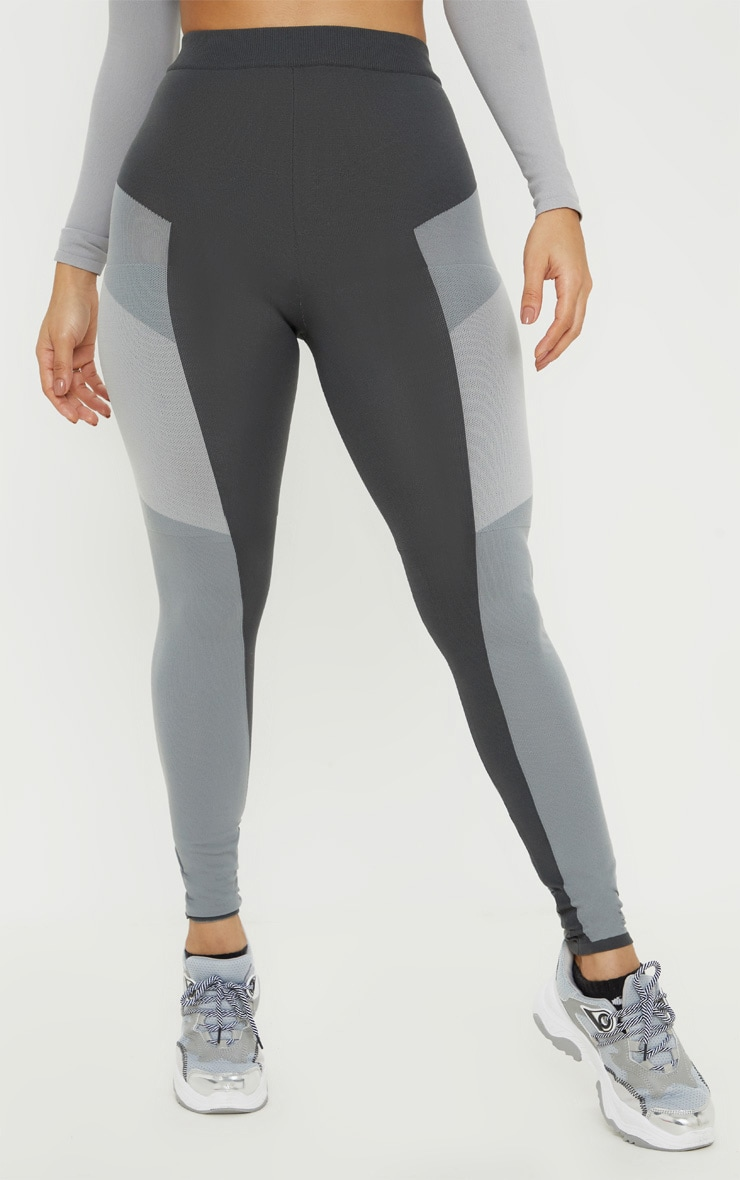 Grey Seamless Knit Panelled Gym Legging 2