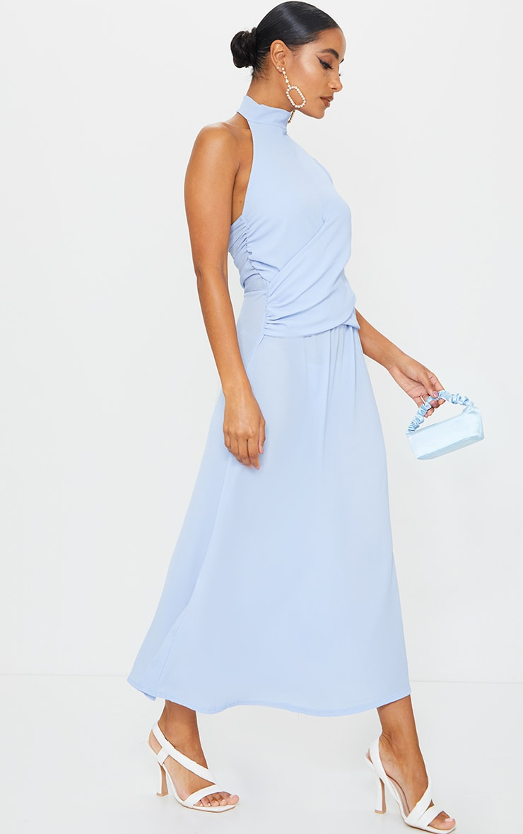 Dusty Blue Halterneck Wrap Front Maxi Dress 3