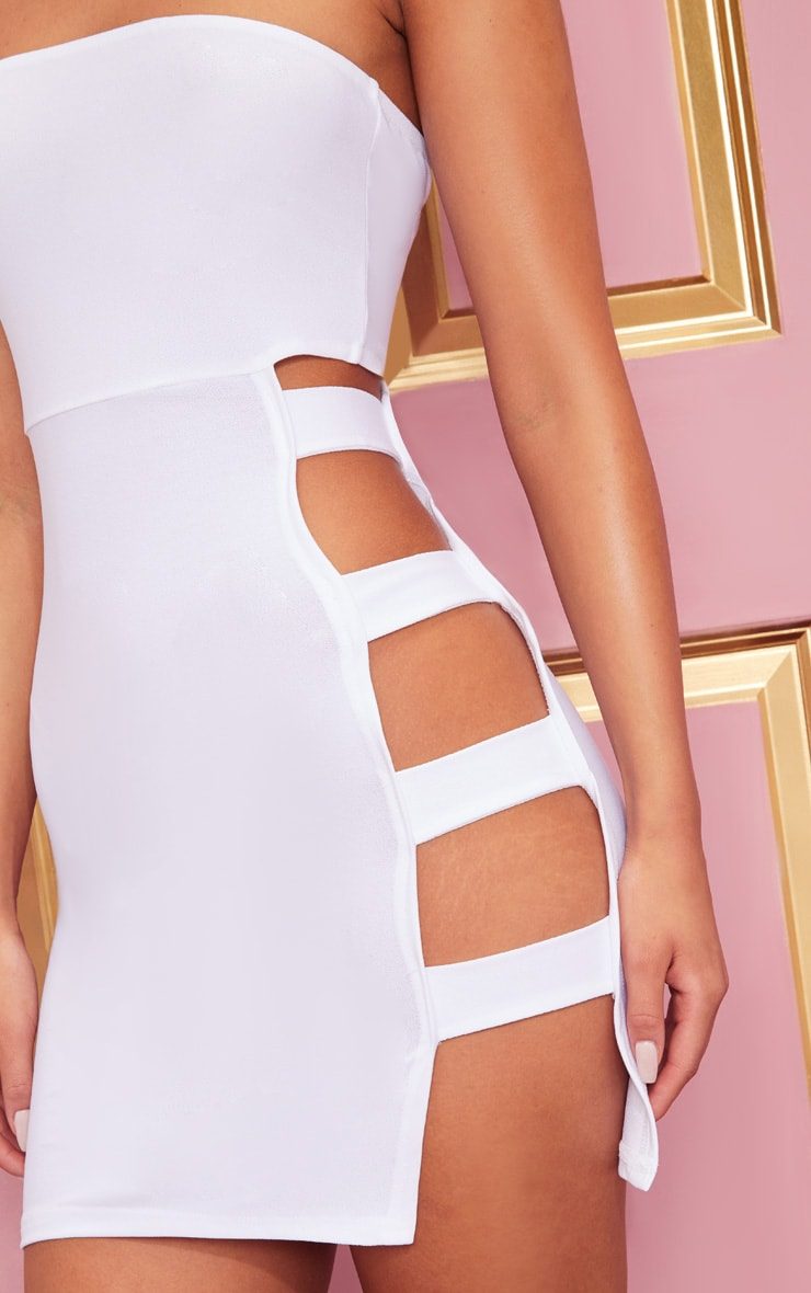 White Crepe Split Side Bandeau Bodycon Dress 4