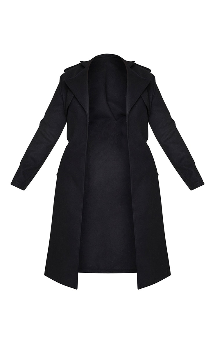 Black Wool Miltary Belted Midi Coat 5