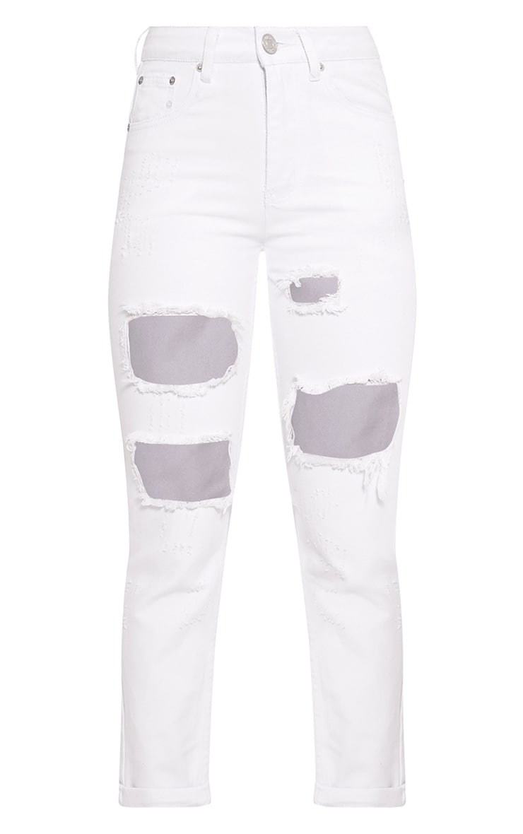 Carley White Extreme Rip Boyfriend Jeans 3