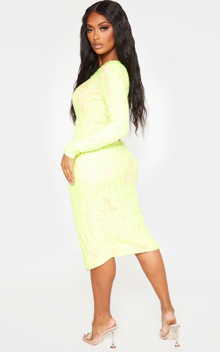 Shape Neon Lime Embellished Cut Out Long Sleeve Split Midi Dress 2