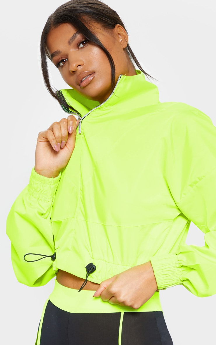 Neon Yellow Crop Windbreaker 4