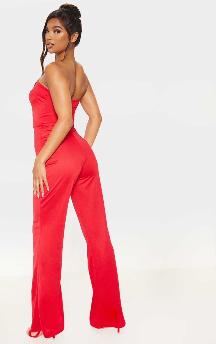 Red Bandeau Fold Detail Jumpsuit 2