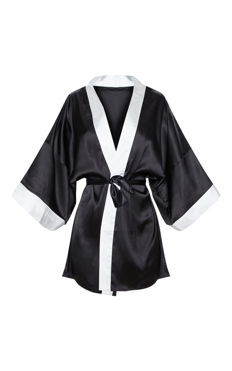 PRETTYLITTLETHING Black Satin Robe 3