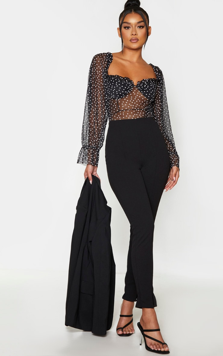 Body style milkmaid noir en mesh à pois  3