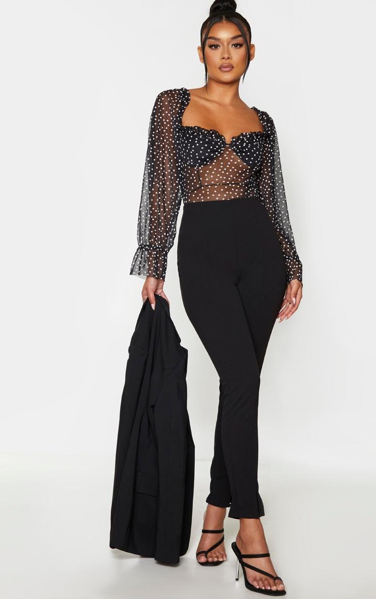 Black Mesh Polka Dot Milkmaid Bodysuit 3