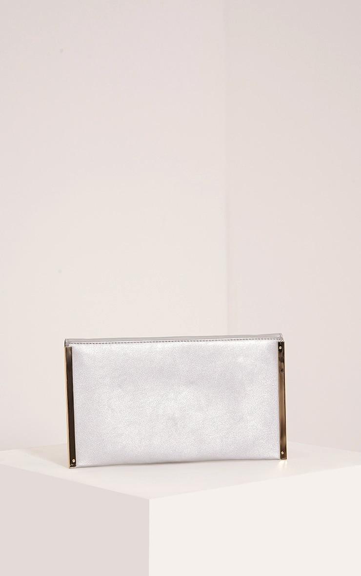 Kary Silver Metallic Clutch Bag 3