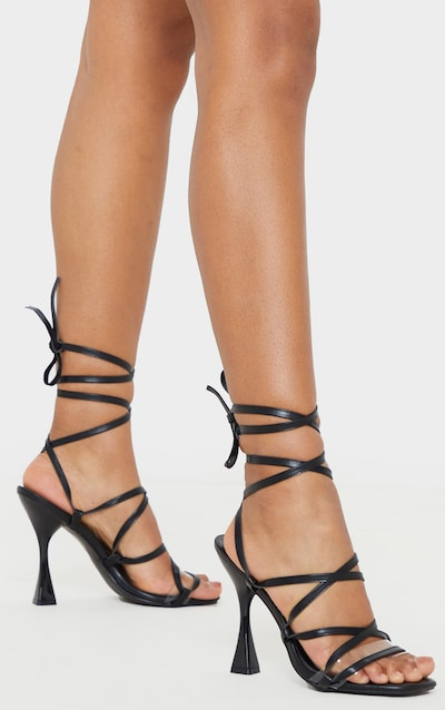 Black Flared Heel Ghillie Lace Up Sandal