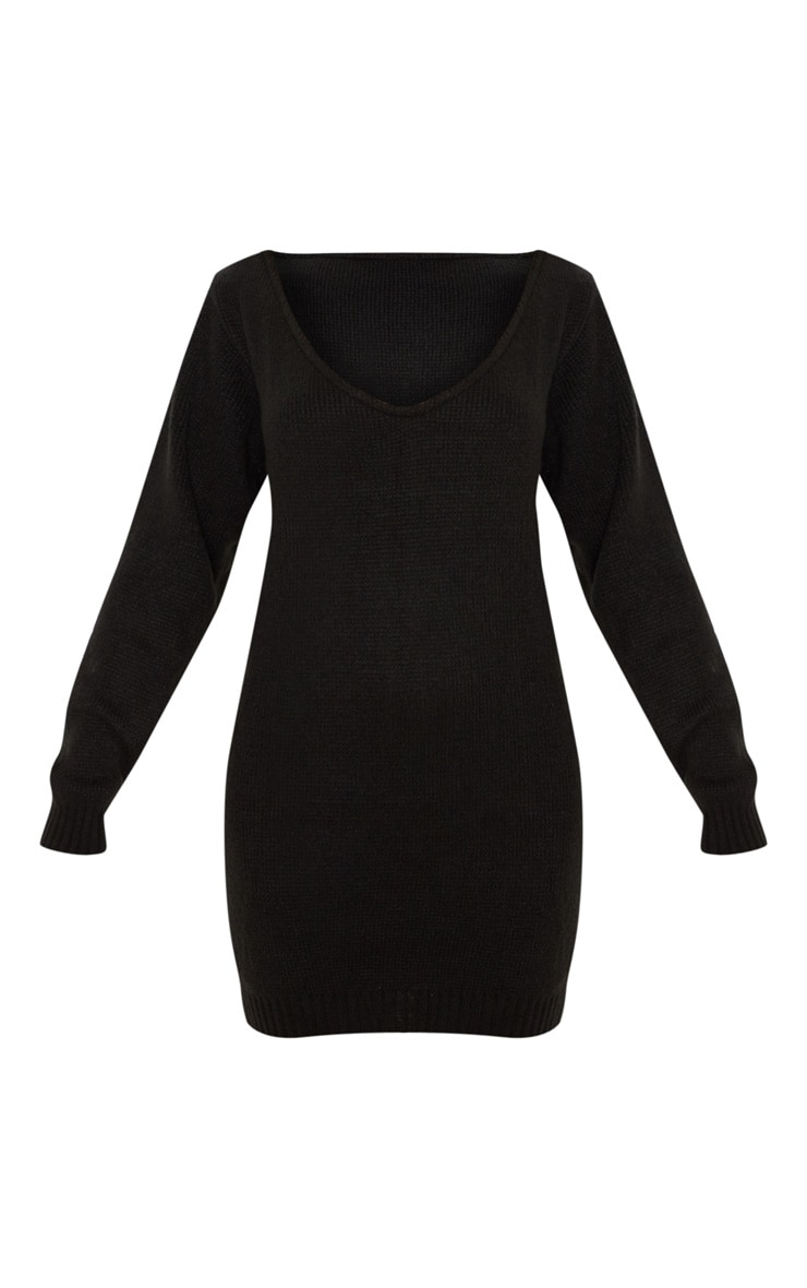 Black Soft Knitted Off Shoulder Mini Dress 3