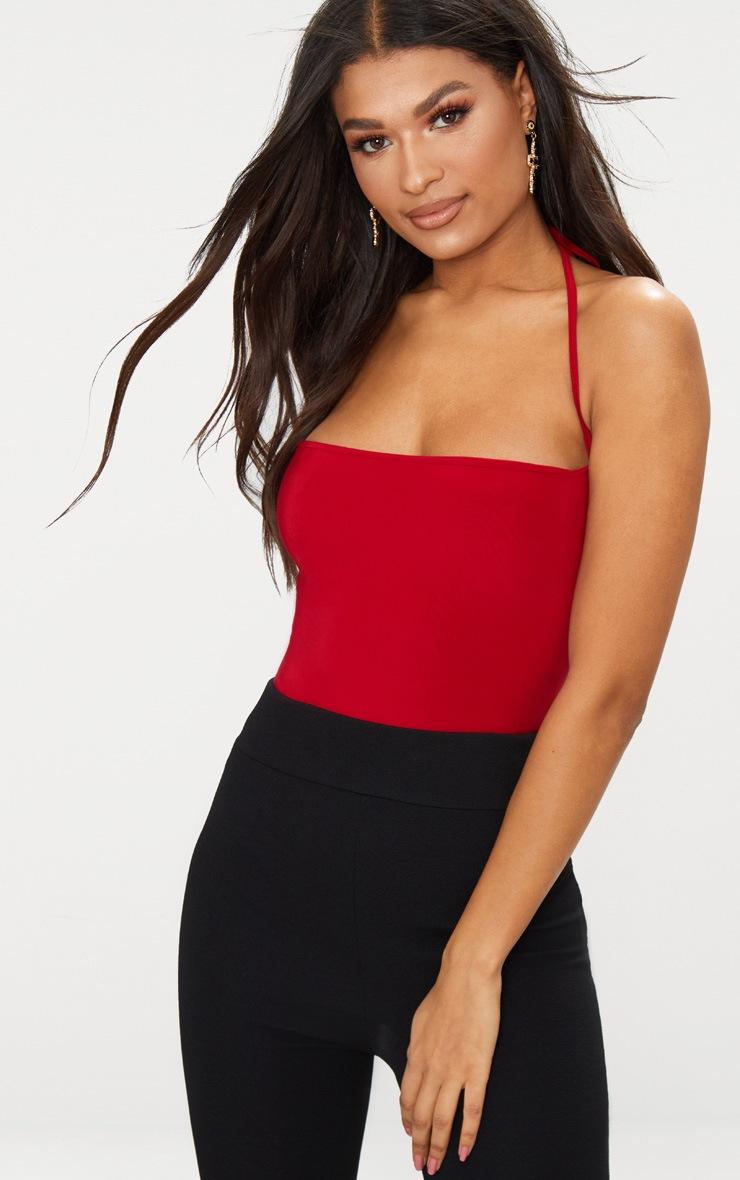 Red Slinky Halterneck Thong Bodysuit  1