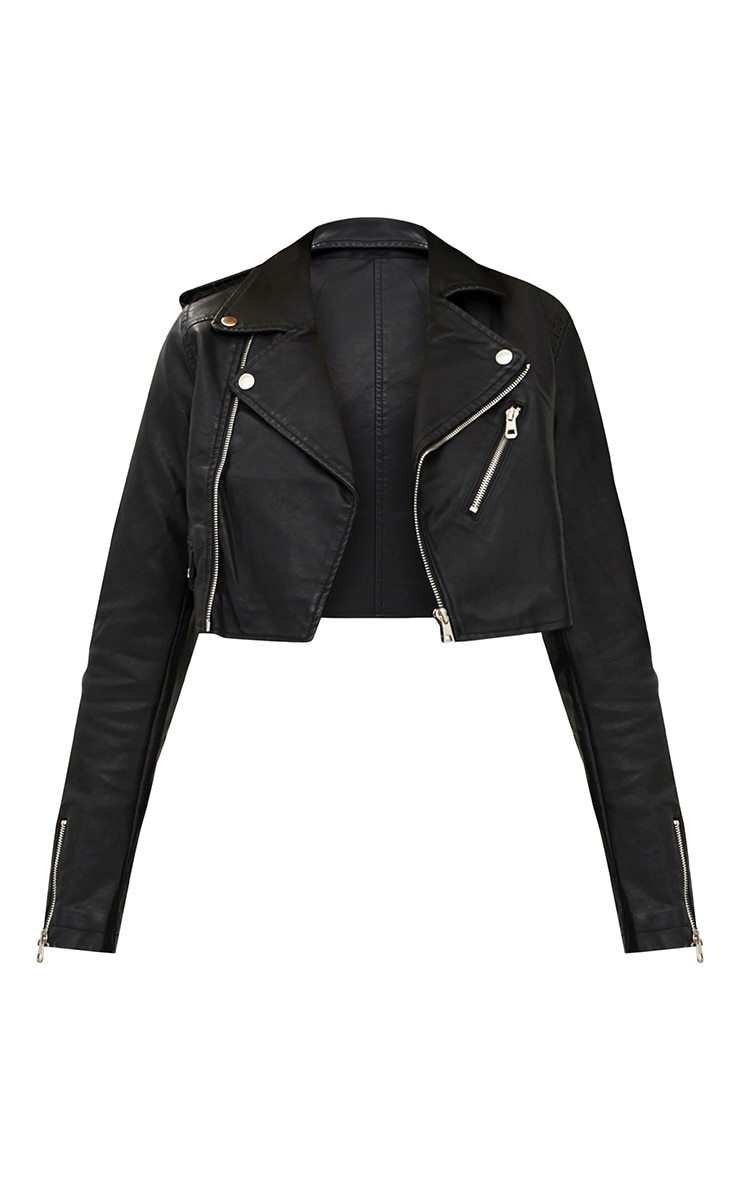 Black Cropped PU Biker Jacket With Zips 3