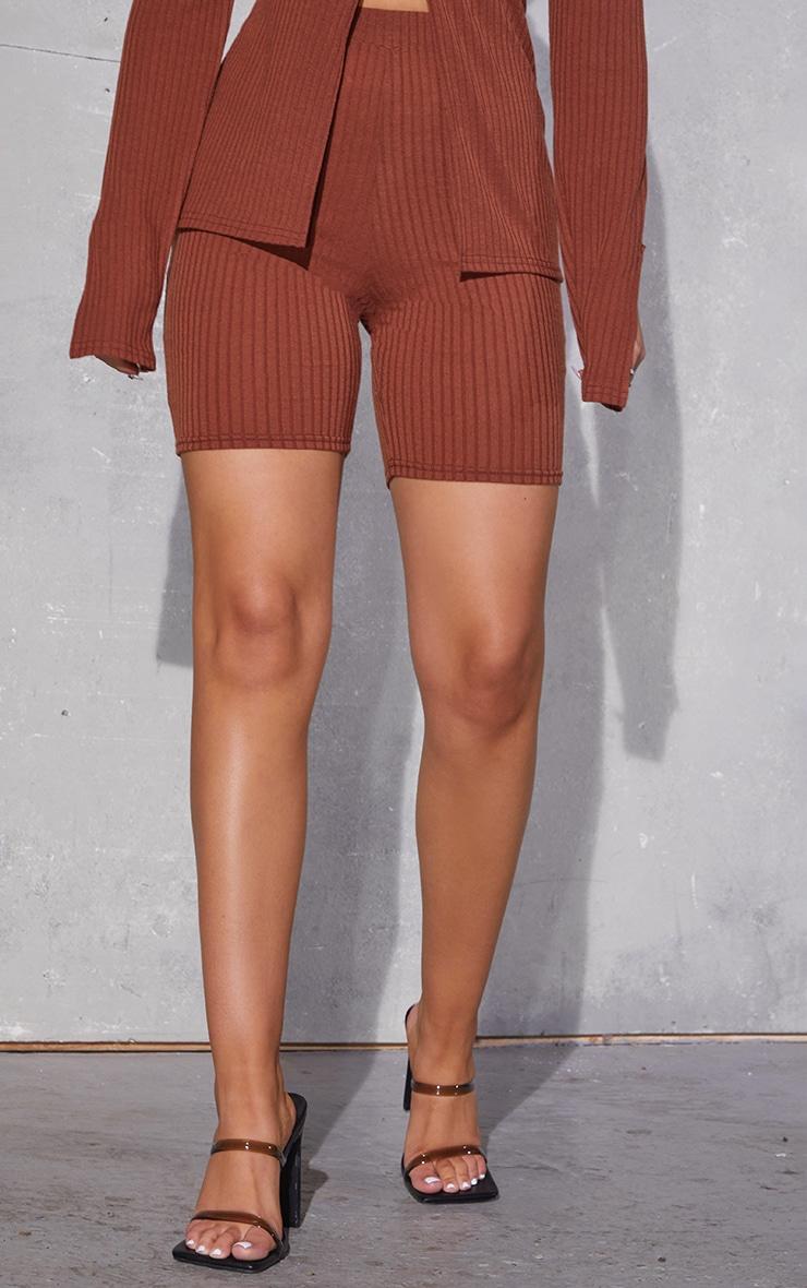 Chocolate Brown Soft Rib Bike Shorts 2