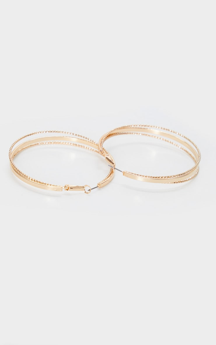 Gold Triple Plain And Textured Hoop Earrings 3