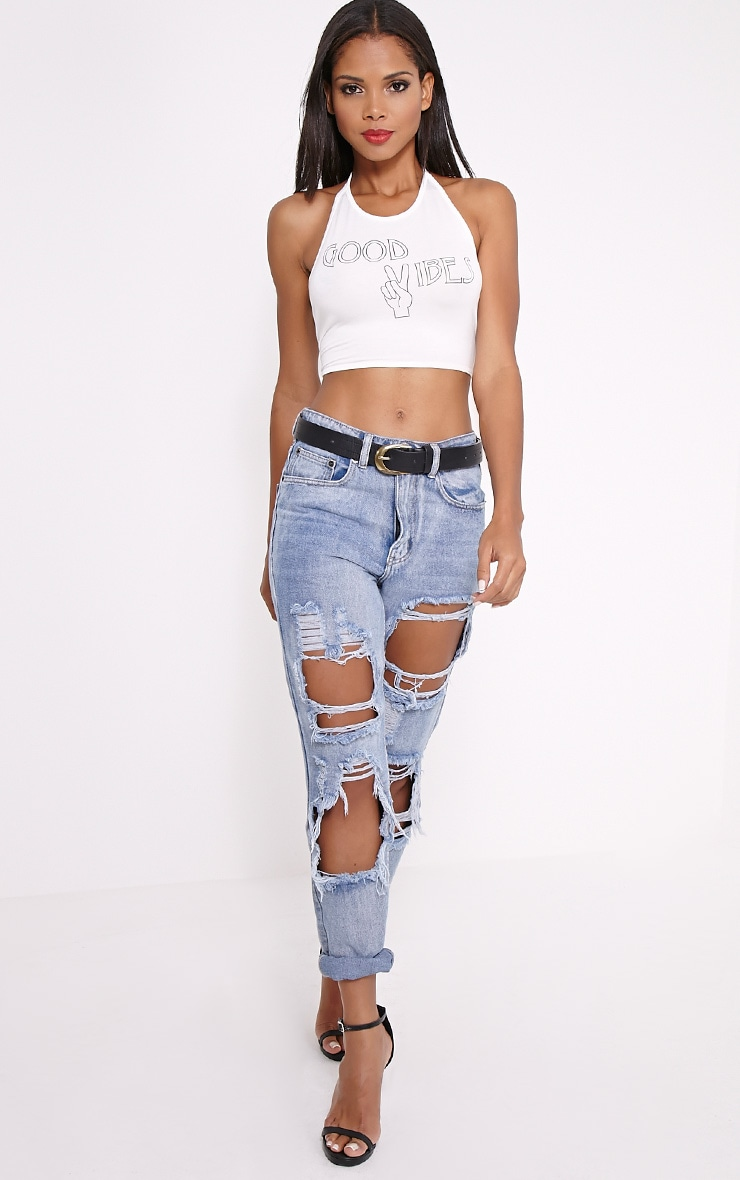 Hildy White 'Good Vibes' Crop Top 3