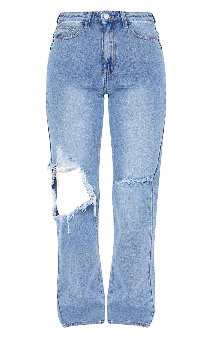 Light Blue Wash Extreme Distress Loose Straight Leg Jeans 5