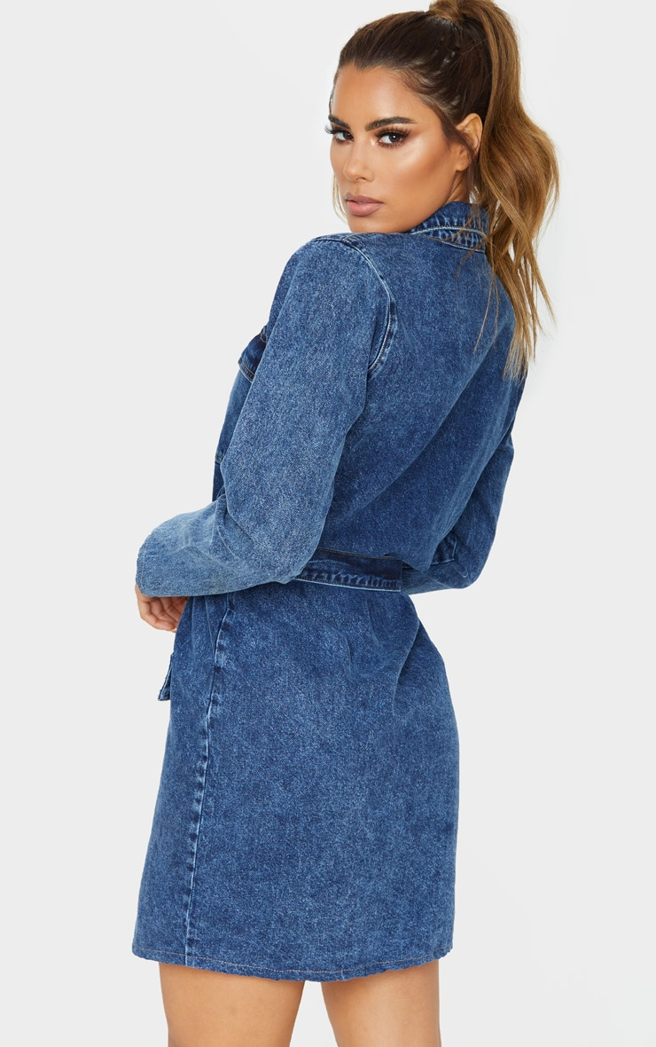 Tall Dark Blue Acid Wash Belted Denim Shirt Dress  2