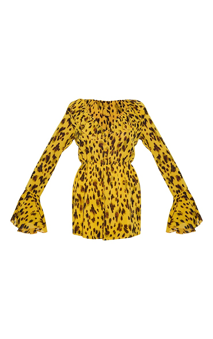 Leopard Print Flare Sleeve Button Detail Romper 5