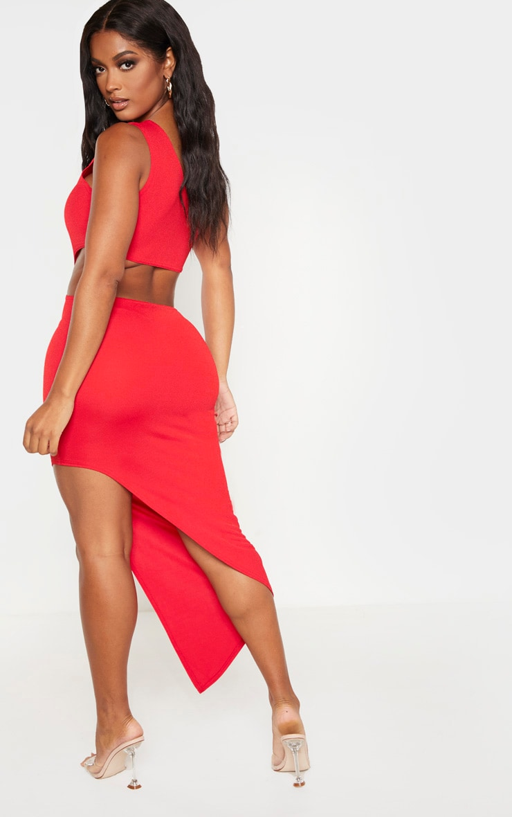 Shape Red One Shoulder Cut Out Midaxi Dress 2
