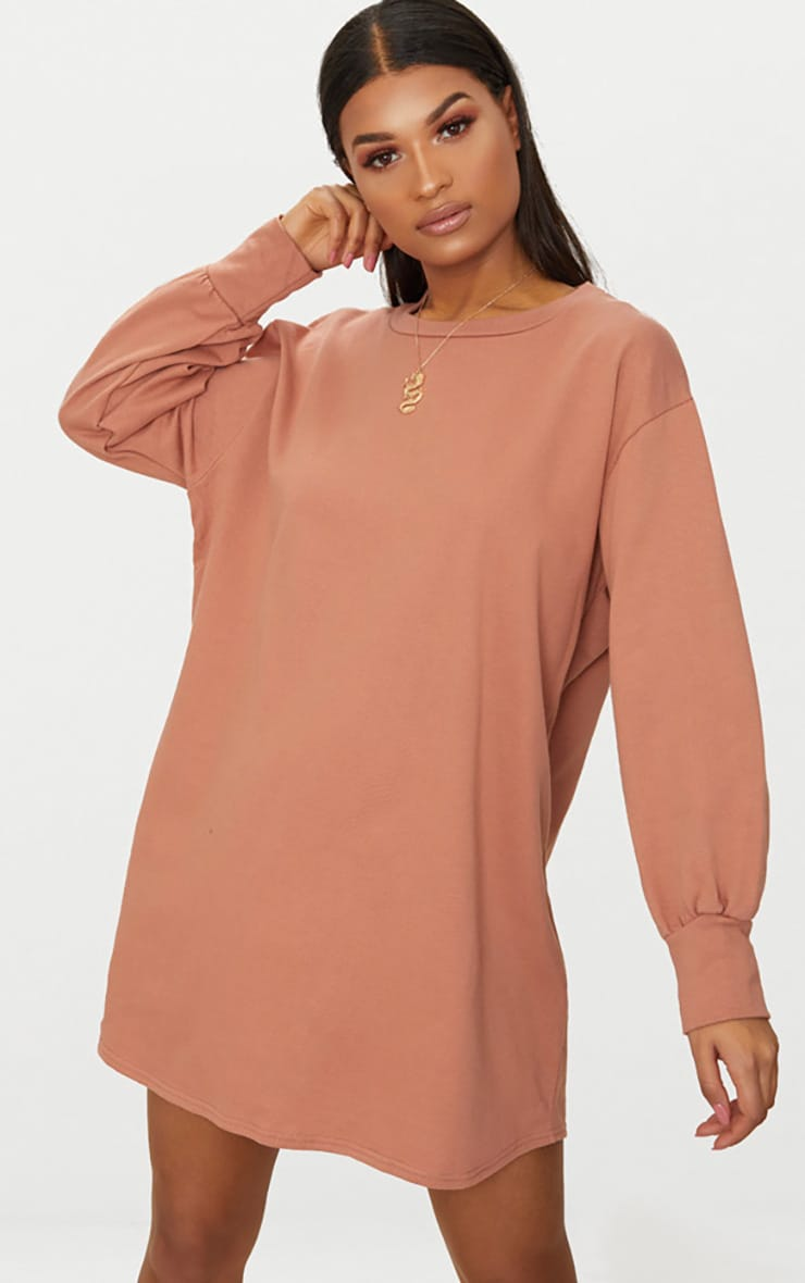 Sianna Deep Peach Oversized Sweater Dress 1