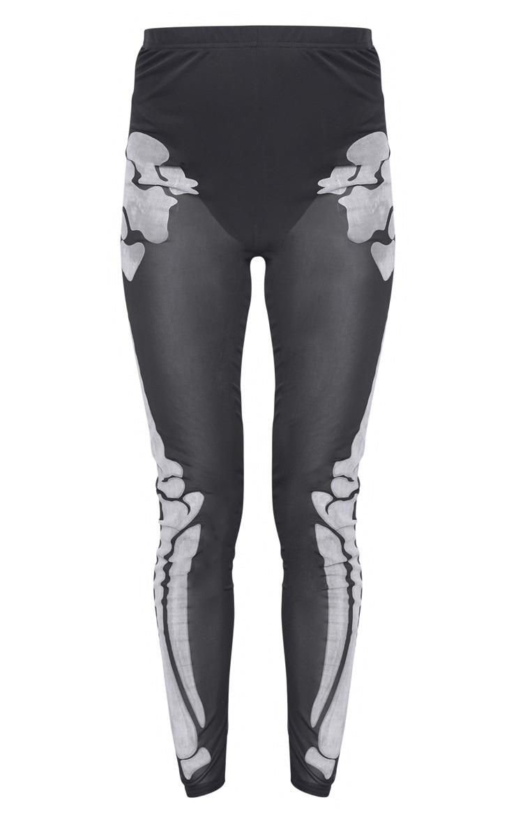Tall Black Skeleton Print High Waisted Legging 3