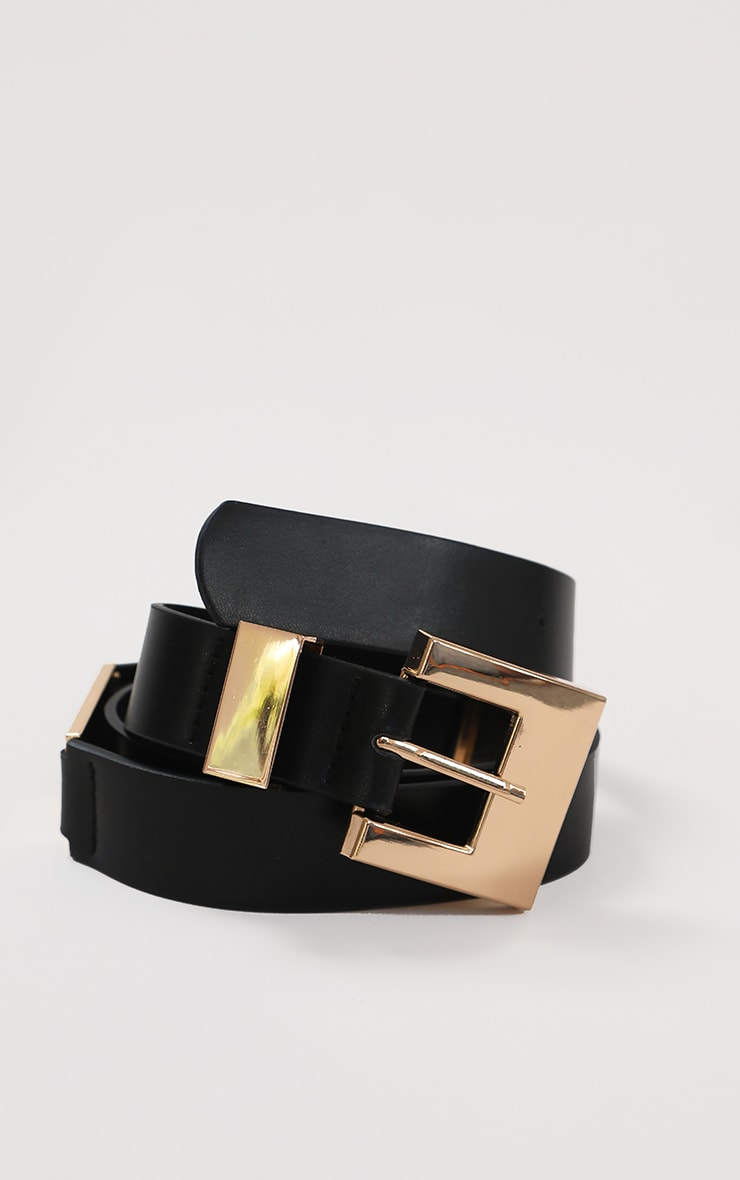 Black PU Gold Chunky Square Buckle Waist Belt 1