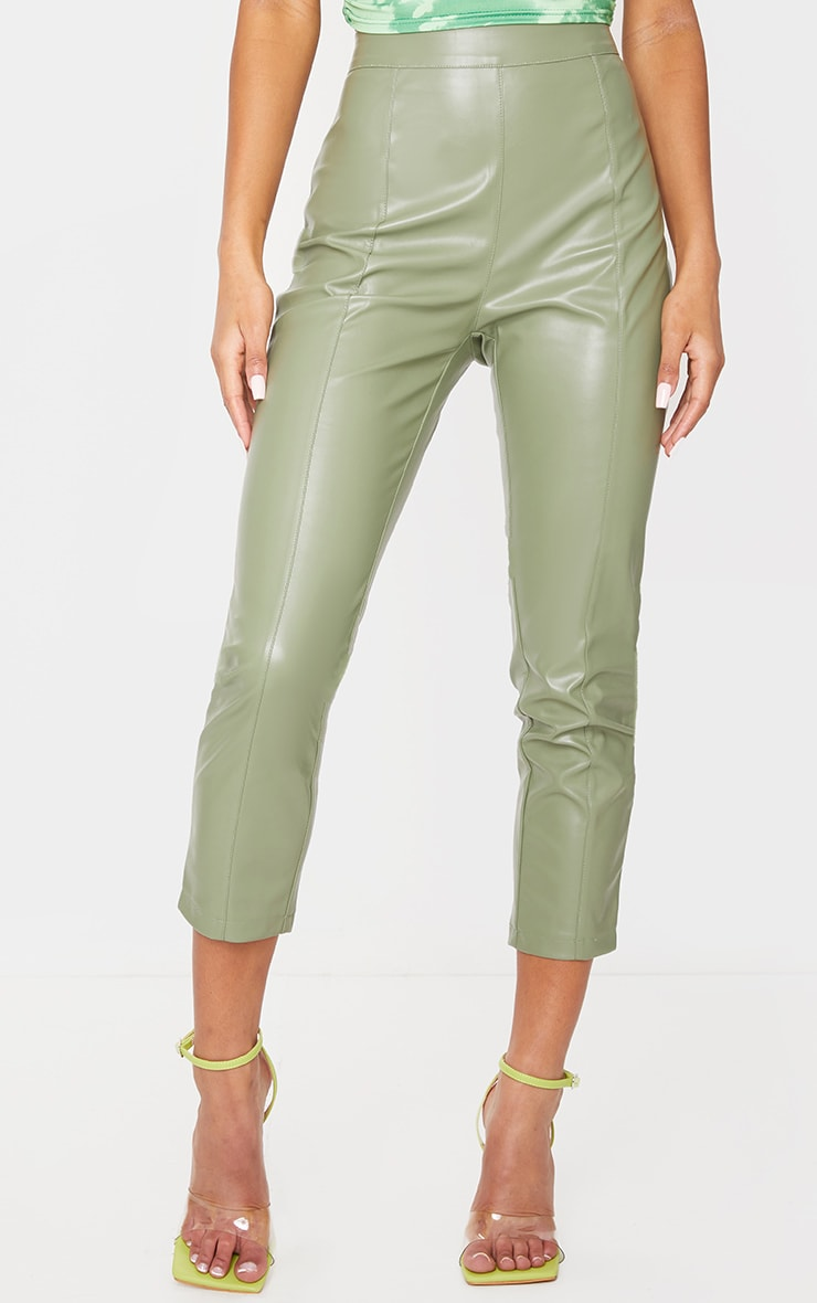 Sage Khaki Faux Leather Cropped Skinny Pants 2