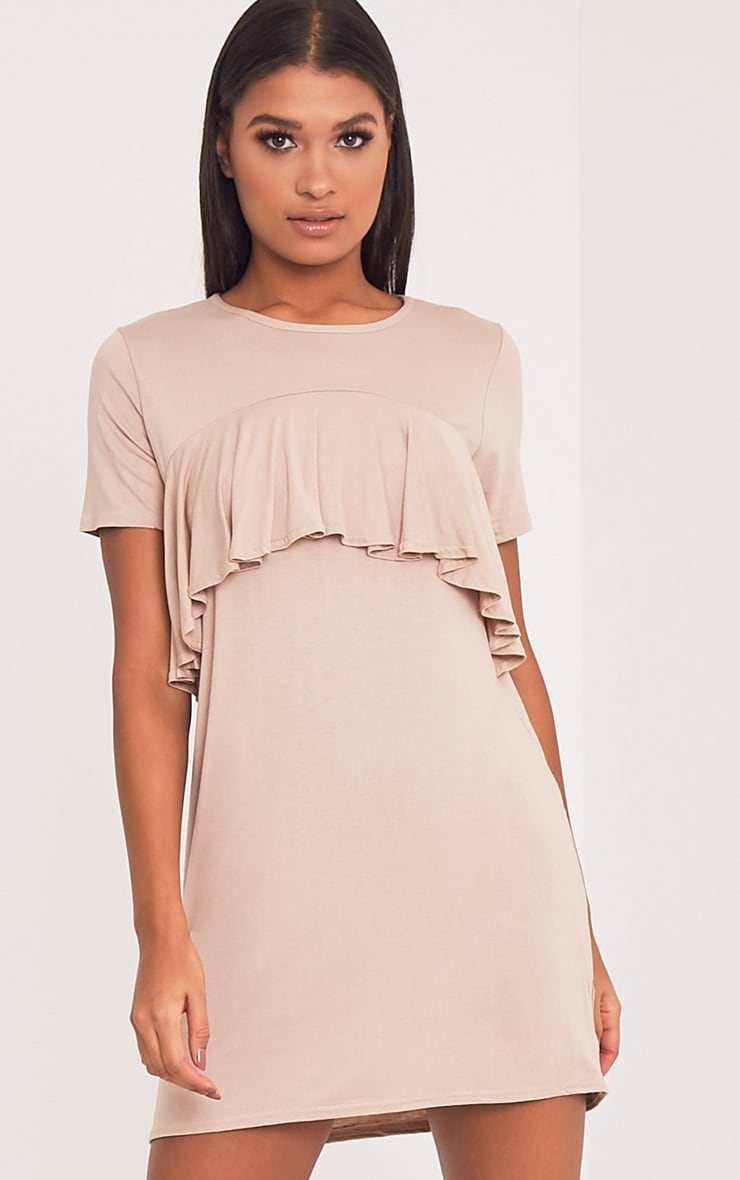 Sharley Nude Ruffle Detail T-Shirt Dress 1