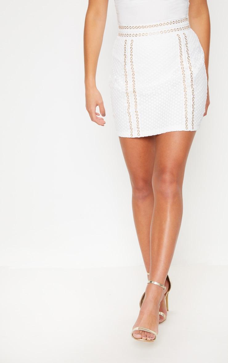 White Eyelet Detail Crochet Mini Skirt 2