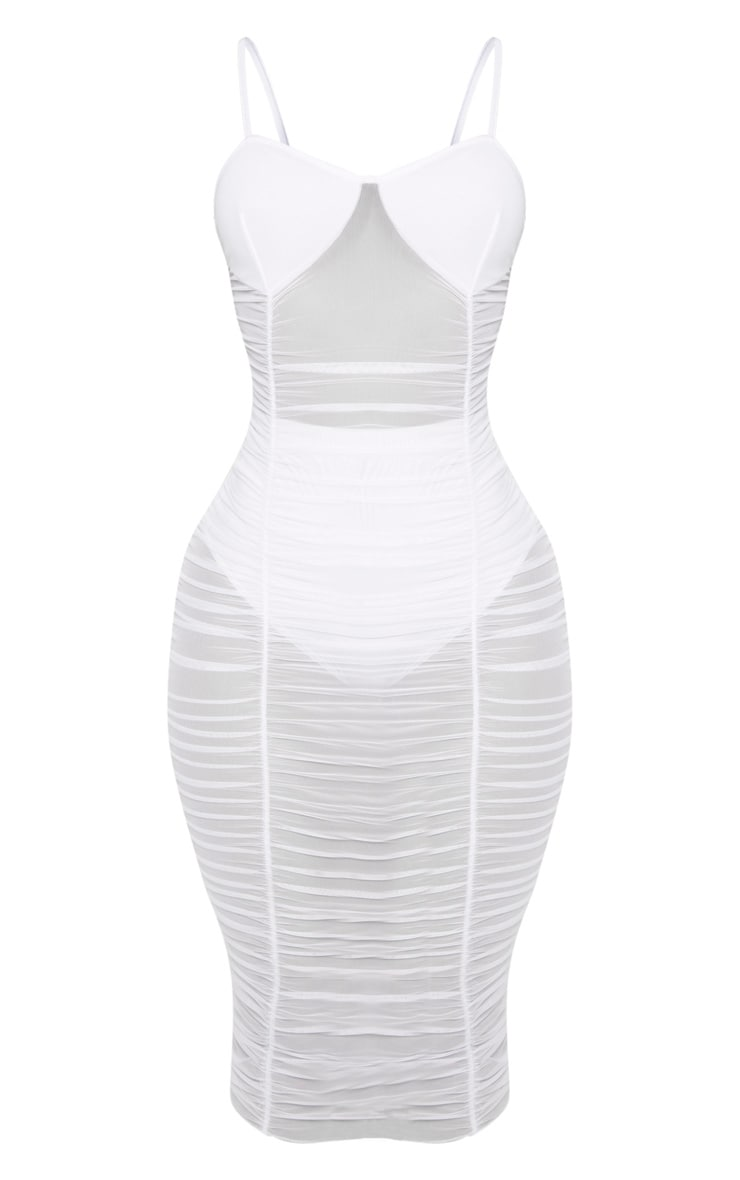 Shape White Ruched Strappy Mesh Longline Midi Dress 3