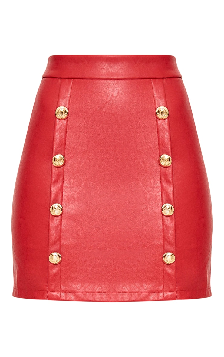 Red Button PU Mini Skirt 3
