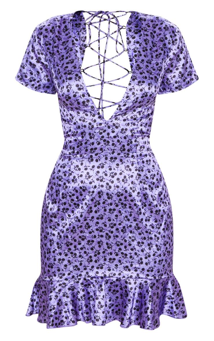Lilac Disty Floral Criss Cross Back Frill Hem Bodycon Dress 3