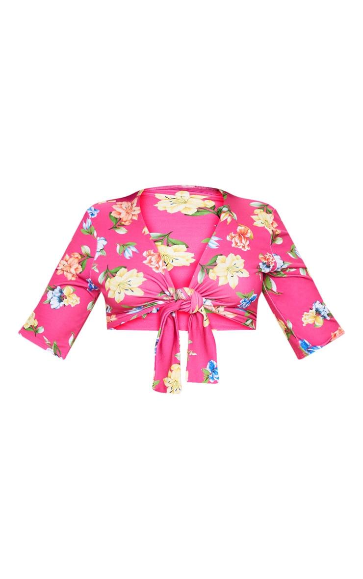 Plus Pink Floral Print Tie Front Crop Top 3