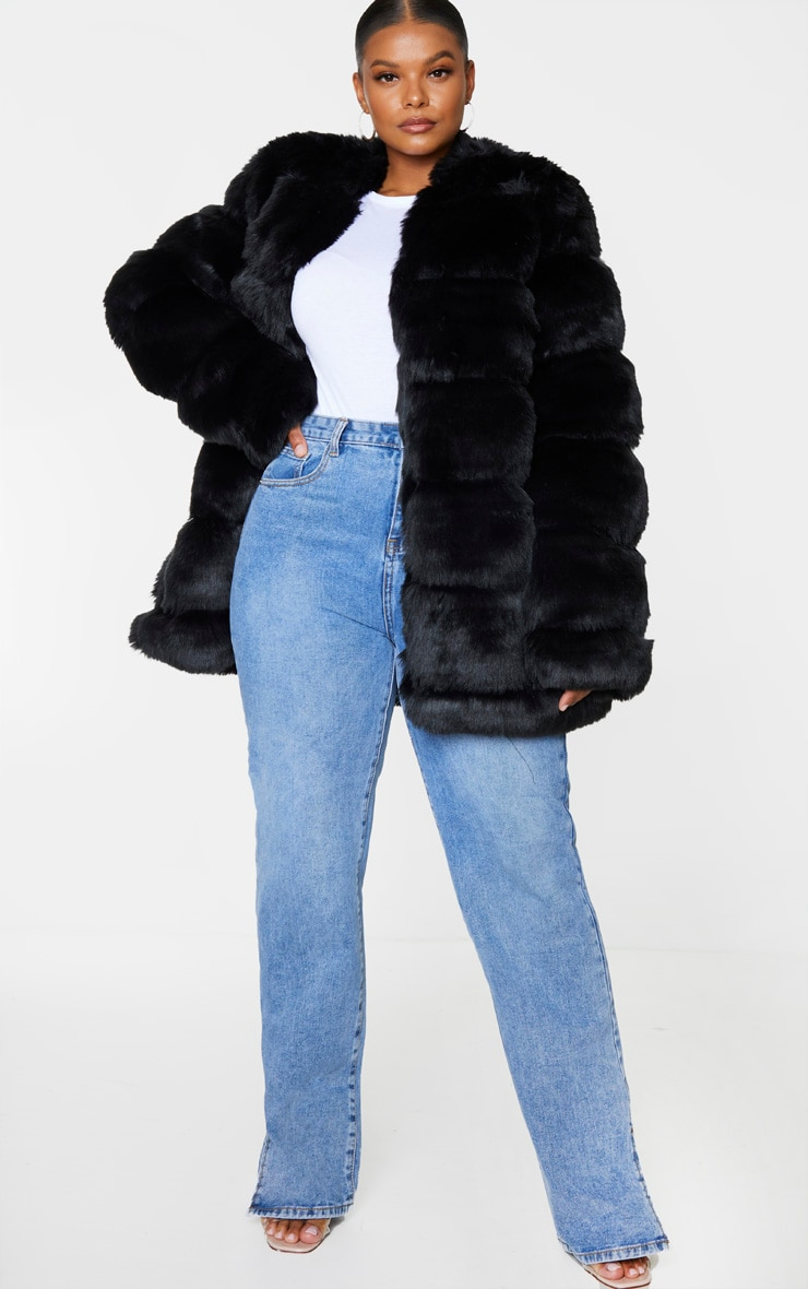 Plus Black Faux Fur Bubble Coat 1