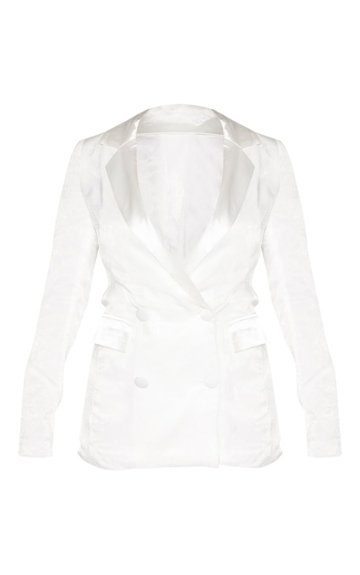 Petite White Longline Satin Mix Blazer 3