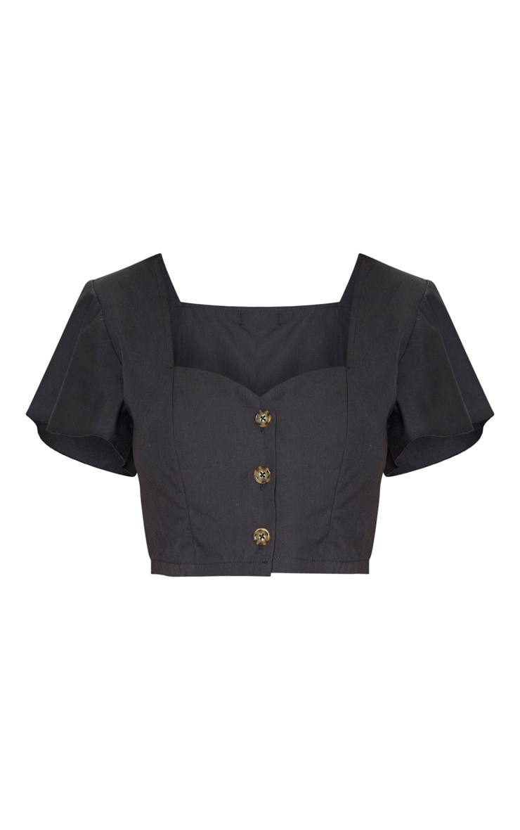 Black Plunge Frill Sleeve Blouse 3