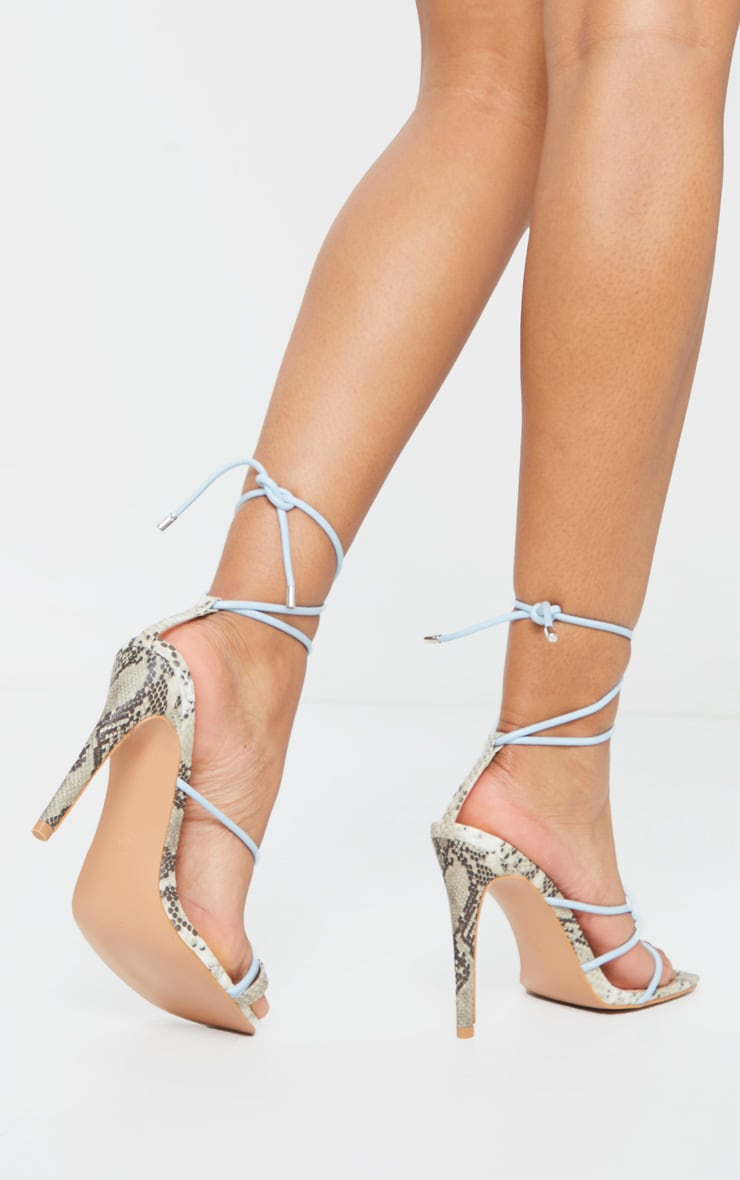 Blue Contrast Snake Square Toe Lace Up Strappy Top Loop Heeled Sandal 2