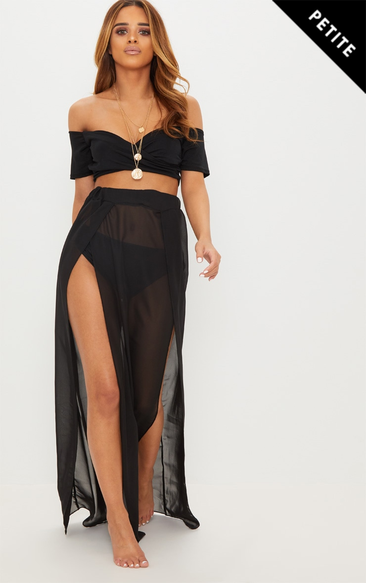 Petite Black Chiffon Maxi Skirt 1