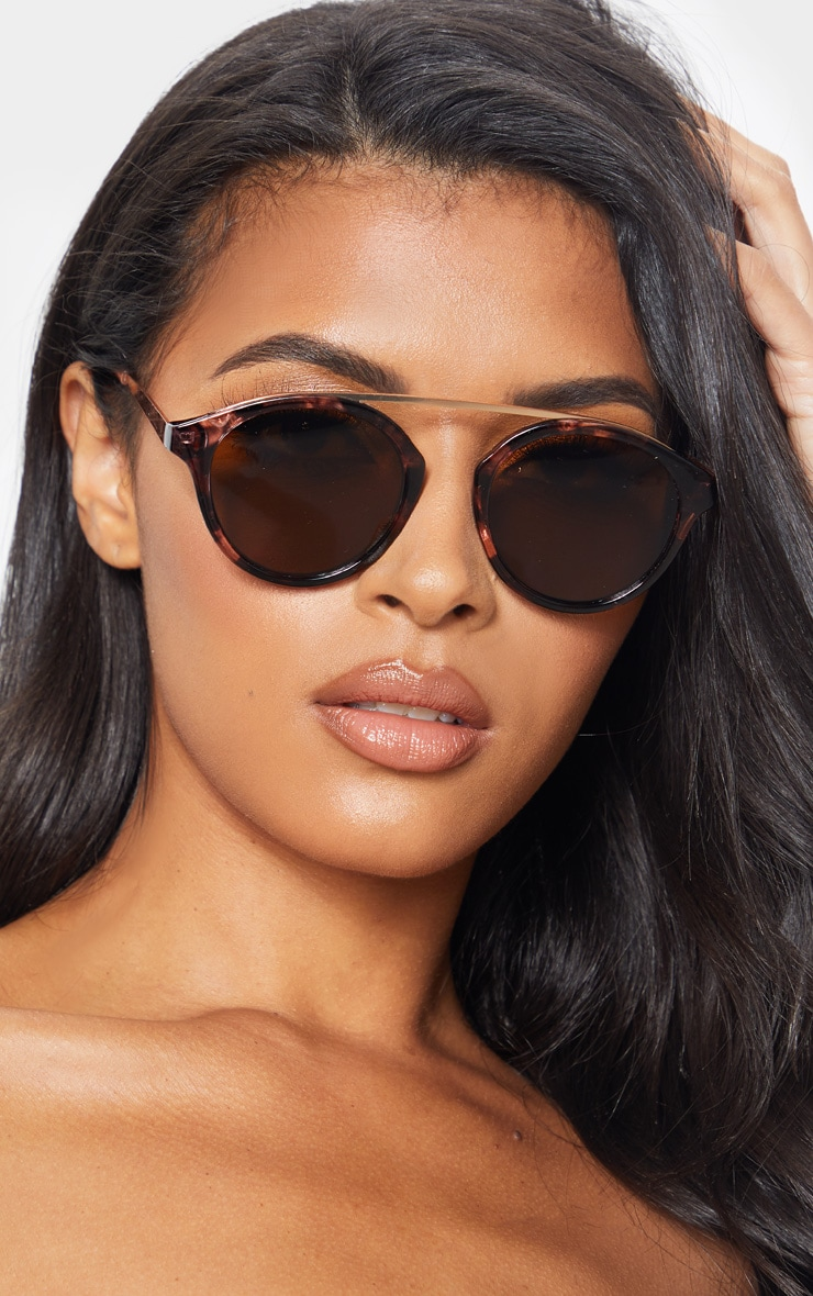 Peach Marble Effect Rose Gold Brow Bar Round Sunglasses           1