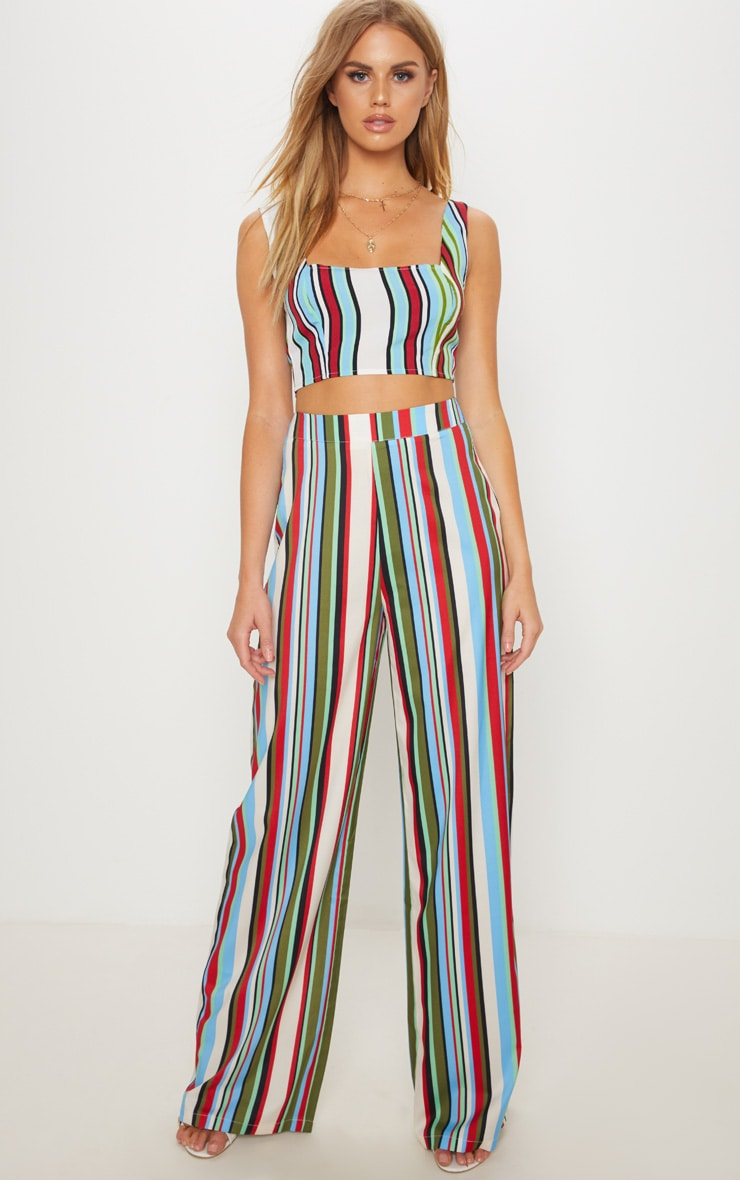 Multi Stripe Wide Leg Trouser