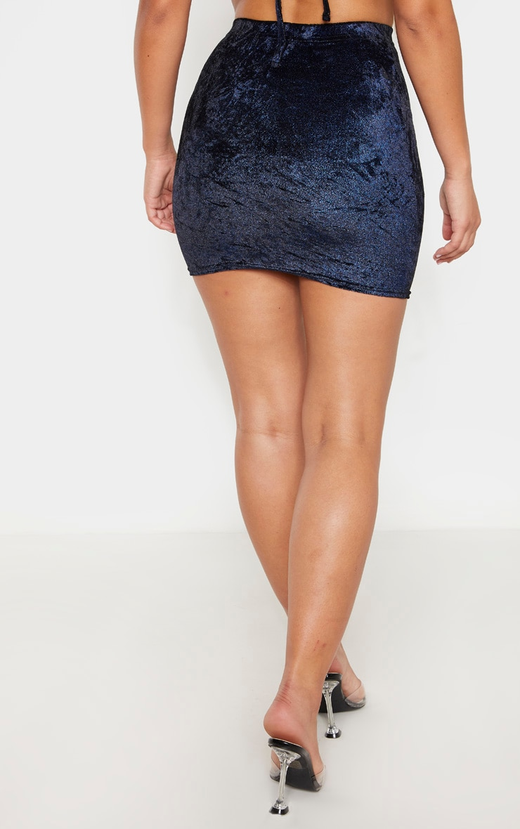 Blue Glitter Metallic Mini Skirt 4