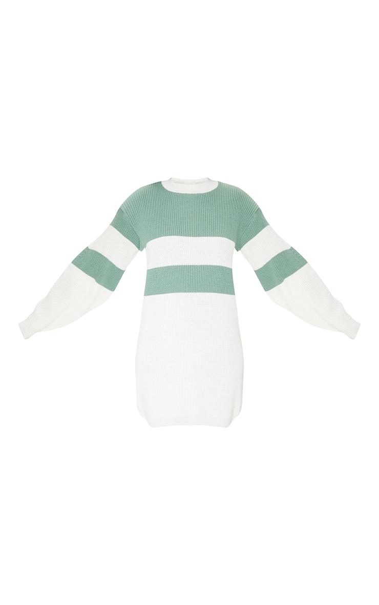 Sage Green Colour Block Turtle Neck Jumper Dress 5
