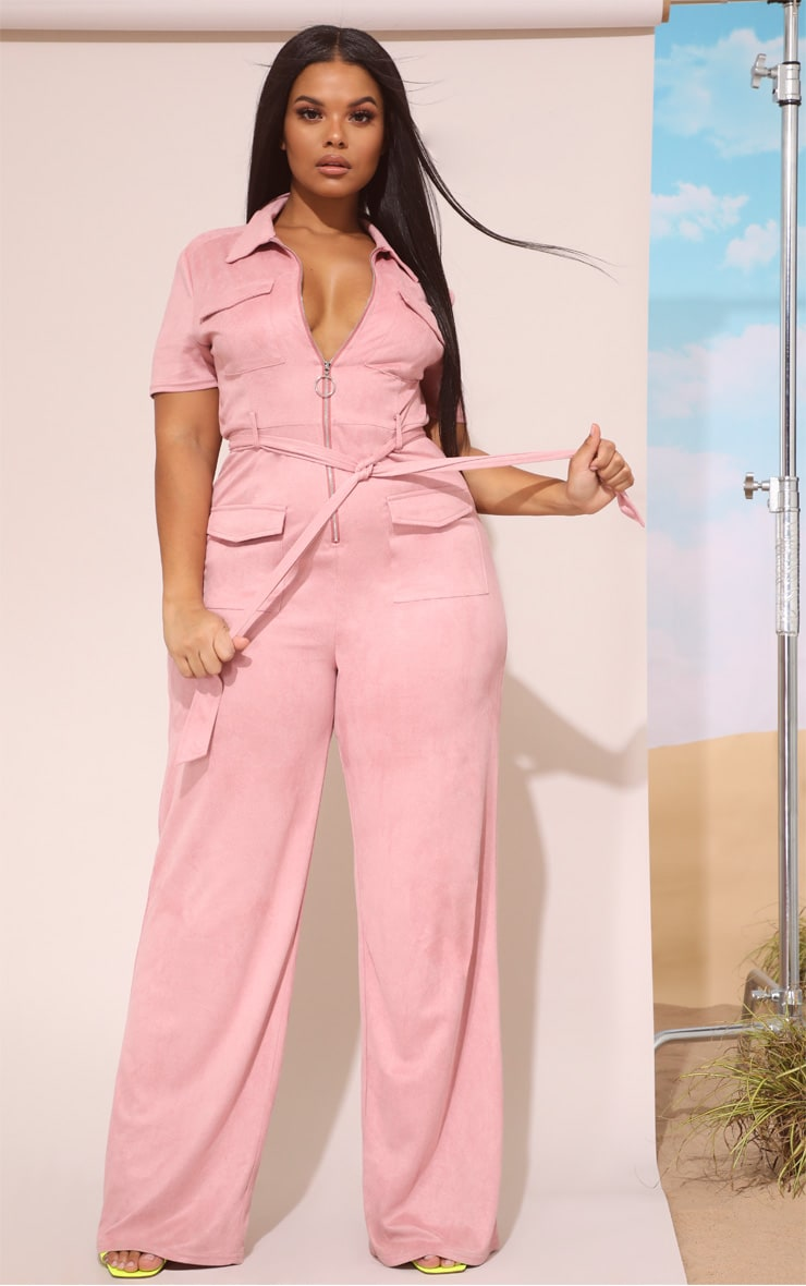 Plus Rose Pink Faux Suede Zip Detail Jumpsuit 4