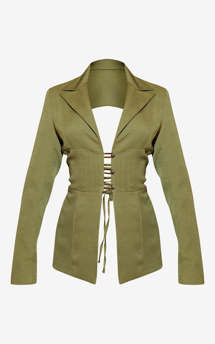 Khaki Fitted Lace Up Back Blazer 3