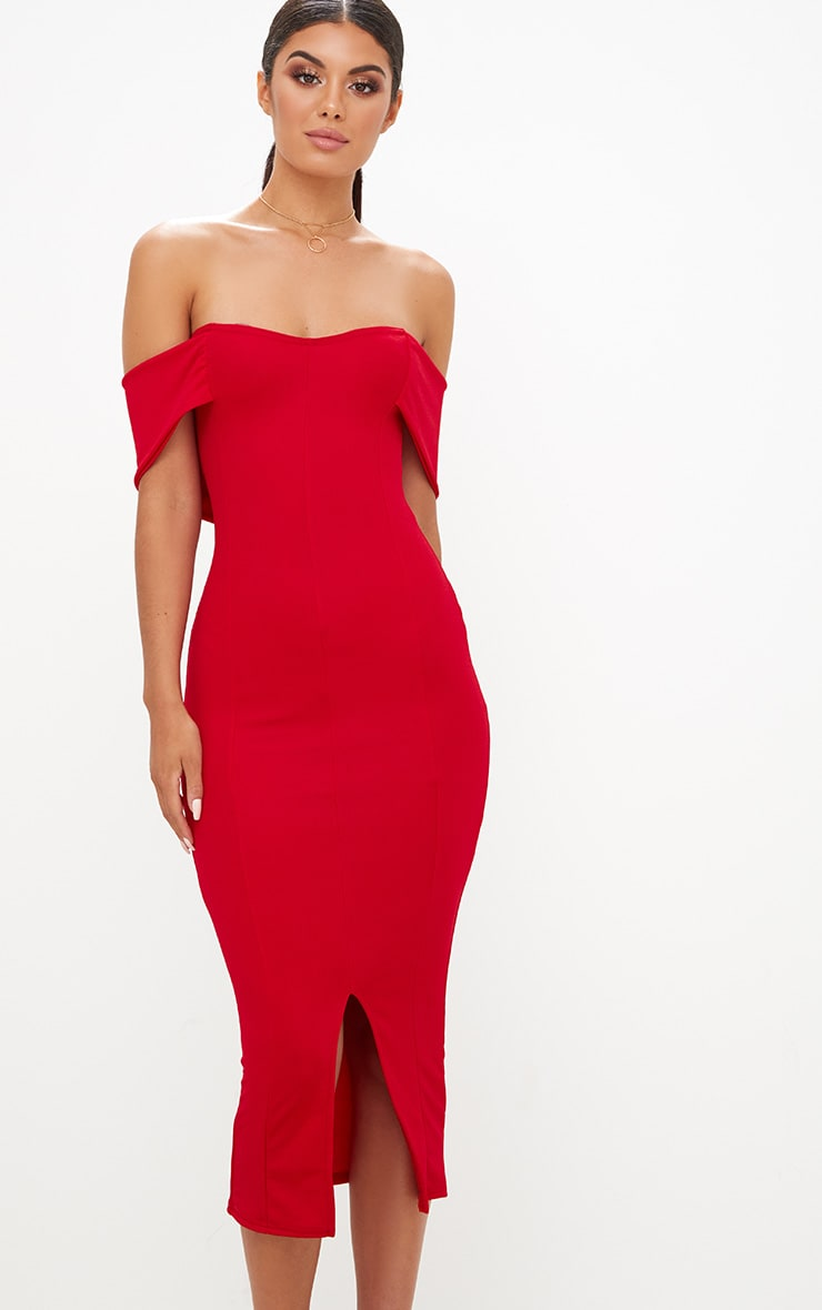 Red Longline Bardot Midi Dress