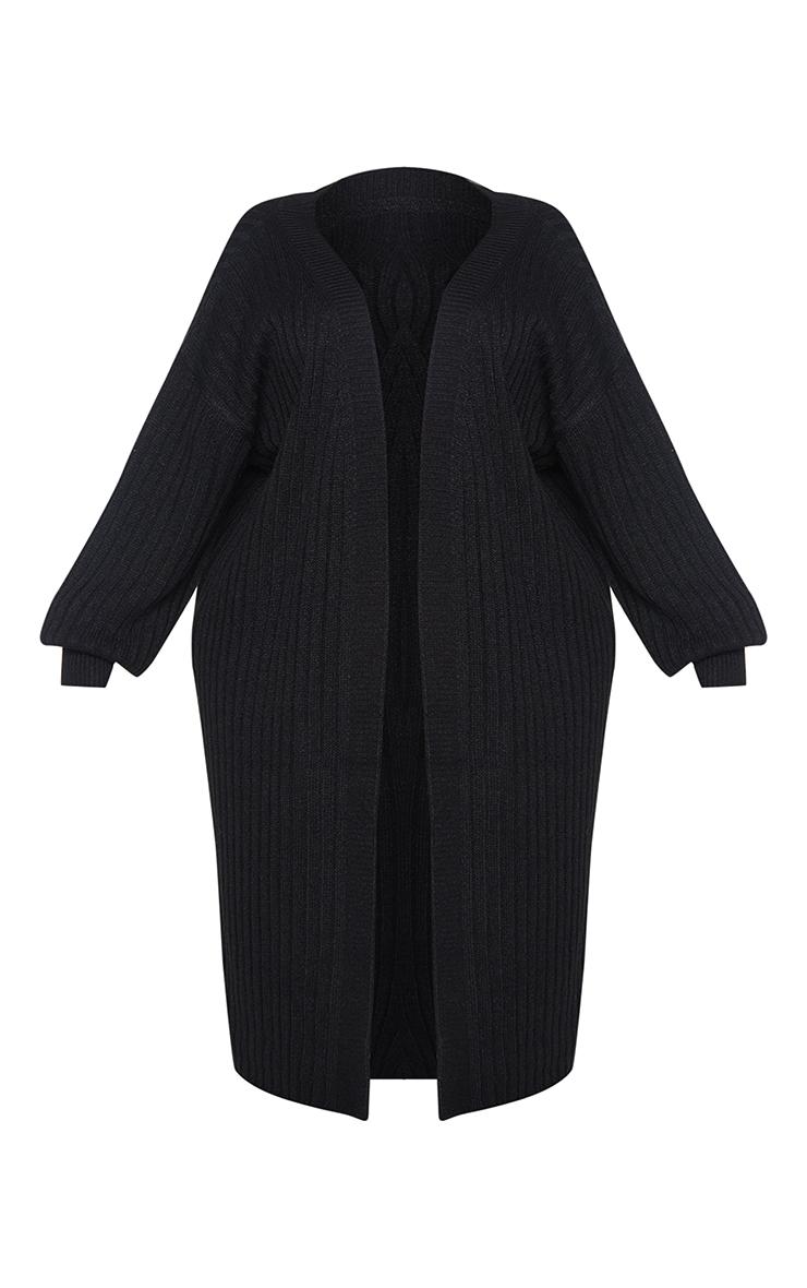 Plus Black Ribbed Knit Midi Cardigan 5
