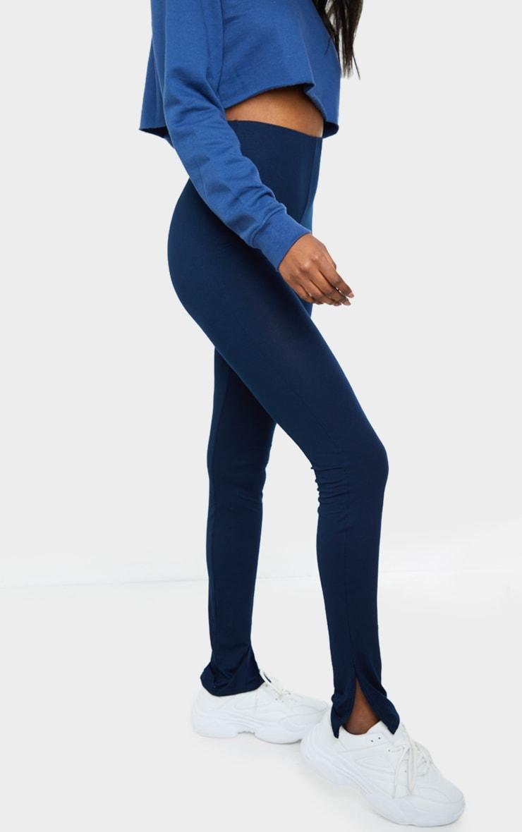 Tall Navy Basic Jersey Split Hem Leggings 2